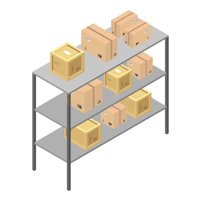 Icône d'étagère de boîte de la livraison, style isométrique illustration stock