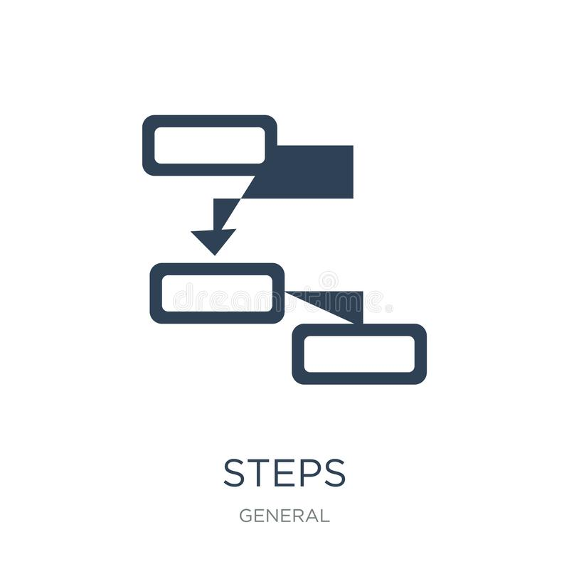 icône d'étapes dans le style à la mode de conception icône d'étapes d'isolement sur le fond blanc symbole plat simple et moderne  illustration de vecteur