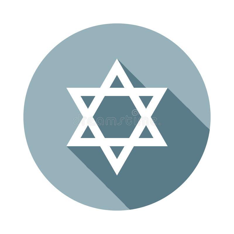 Icône d'étoile de David dans le long style plat d'ombre Un de l'icône de collection de Web peut être employé pour UI, UX illustration stock