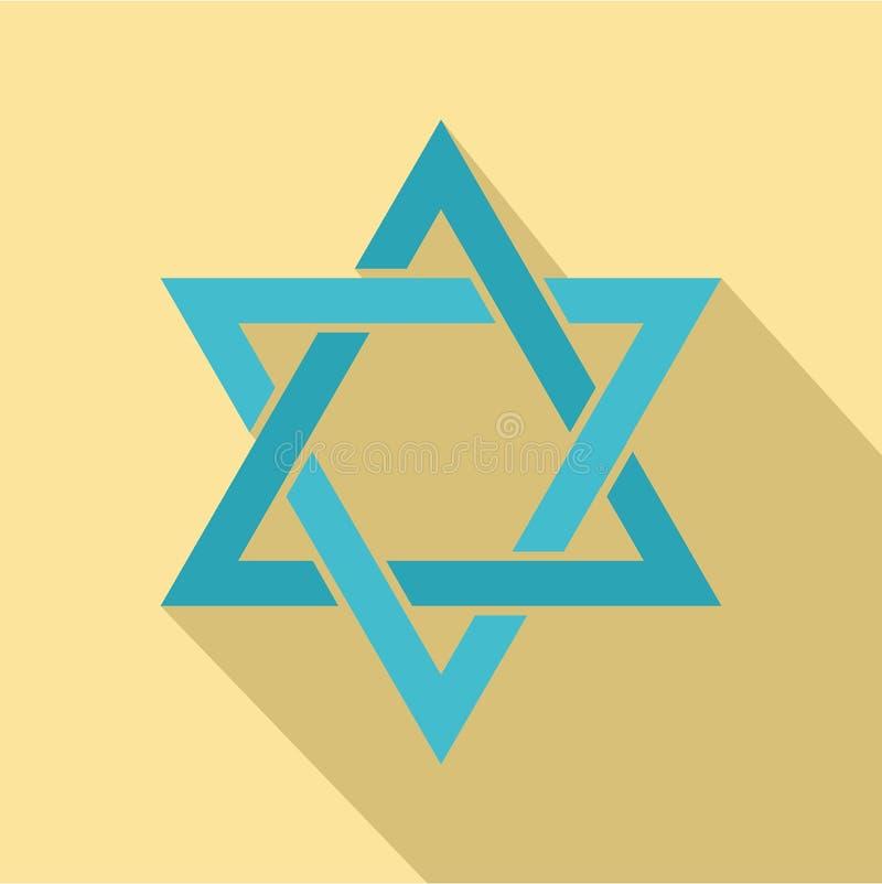 Icône d'étoile de David, style plat illustration de vecteur