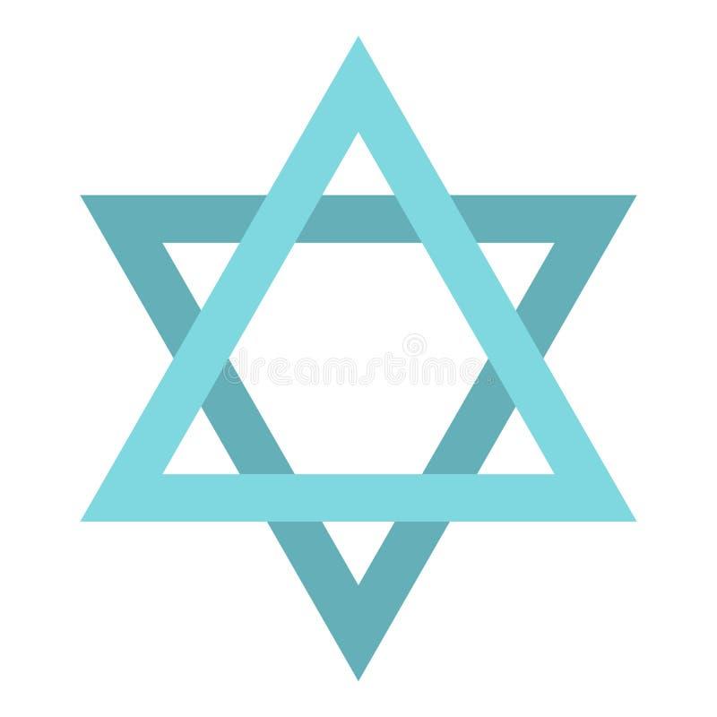 Icône d'étoile de David, style plat illustration stock
