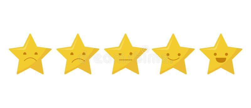 Icône d'évaluation de la qualité de cinq étoiles Examen de notation de produit de client de cinq étoiles d'isolement sur le fond  illustration de vecteur