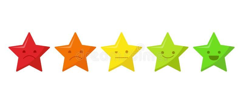 Icône d'évaluation de la qualité de cinq étoiles Examen de notation de produit de client de cinq étoiles d'isolement sur le fond  illustration libre de droits