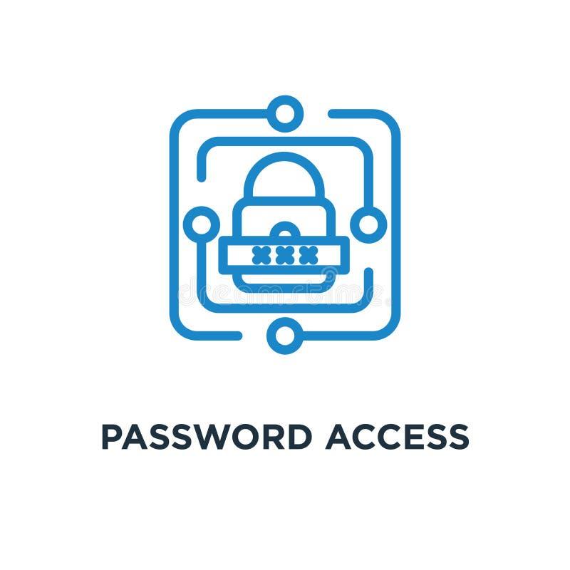 Icône d'accès de mot de passe ligne d'authentification et de cybersecurity concentrée illustration de vecteur