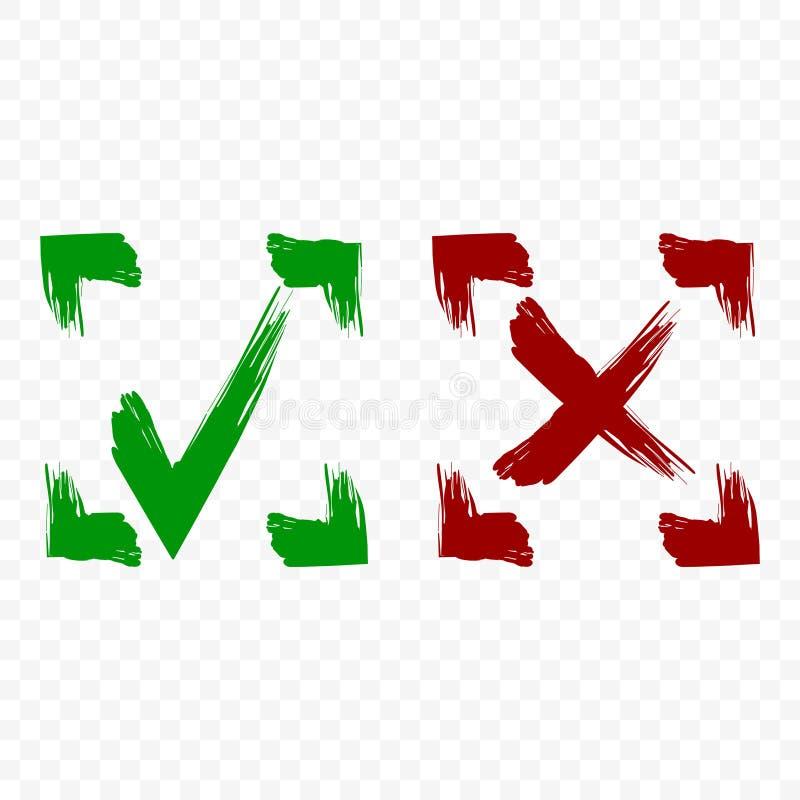 Icône d'acceptation et de rejet Coutil et symbole croisé dans le cadre carré sur le fond transparent Rappes de balai Vecteur d'is illustration libre de droits