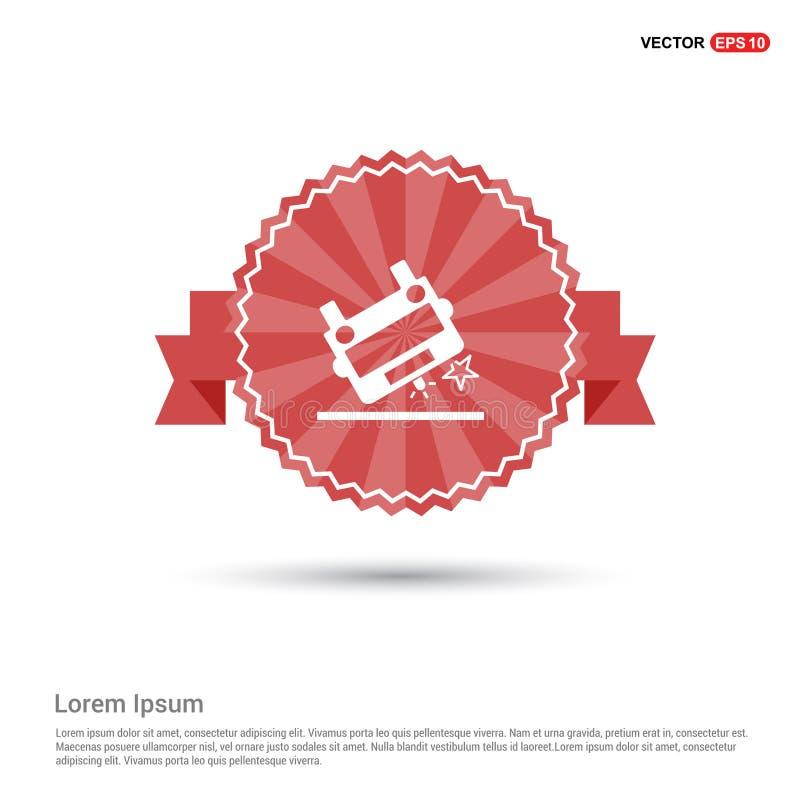 Icône d'accident d'ambulance - bannière rouge de ruban illustration libre de droits