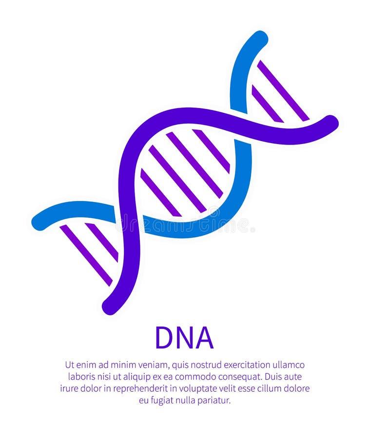 Icône d'ADN de code génétique, acide désoxyribonucléique illustration de vecteur
