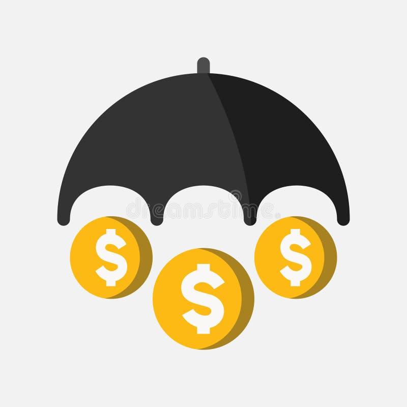 Icône d'affaires, d'opérations bancaires et de finances, bâche noire de parapluie/dollar protecteur/argent, vecteur plat illustration de vecteur