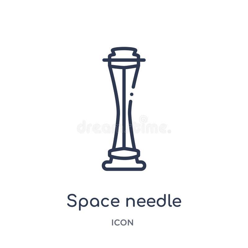 Icône d'aiguille de l'espace linéaire d'architecture et de collection d'ensemble de voyage Ligne mince vecteur d'aiguille de l'es illustration libre de droits
