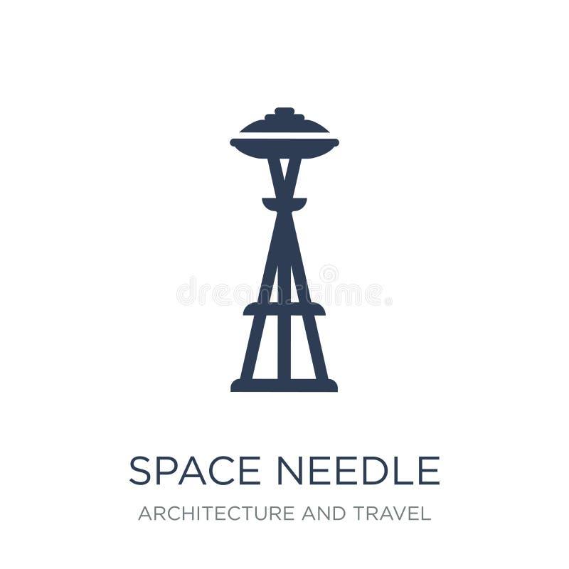Icône d'aiguille de l'espace Icône plate à la mode d'aiguille de l'espace de vecteur sur le blanc illustration libre de droits