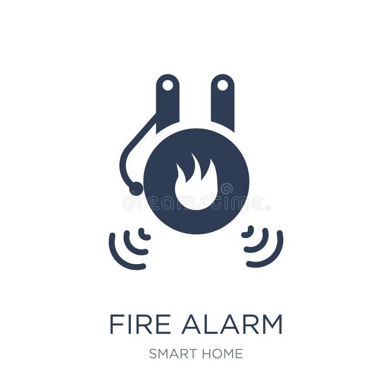 Icône d'alarme d'incendie Icône plate à la mode d'alarme d'incendie de vecteur sur le CCB blanc illustration de vecteur