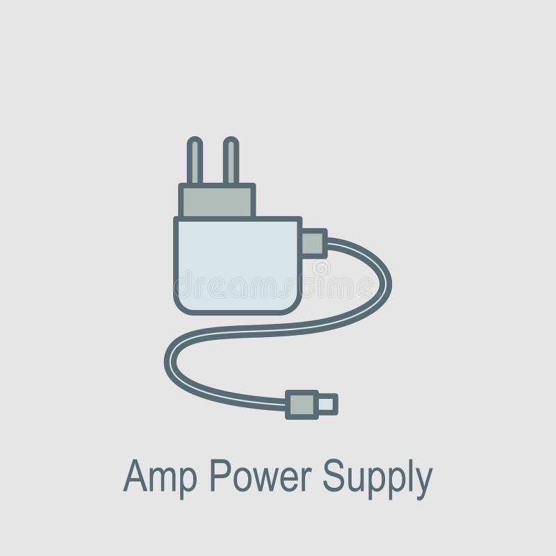 Icône d'alimentation d'énergie d'ampère L'élément de l'ordinateur partie avec l'icône de nom pour les apps mobiles de concept et  illustration de vecteur