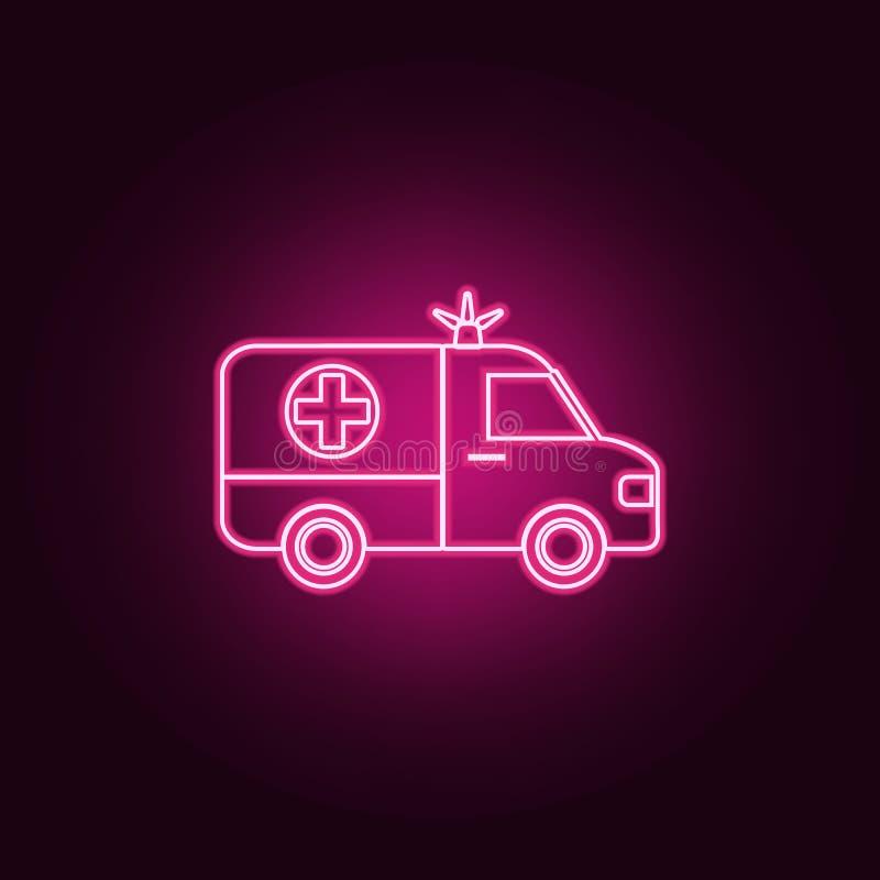 Icône d'ambulance Éléments de médecine dans les icônes au néon de style E illustration stock