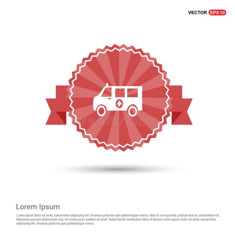icône d'ambulance - bannière rouge de ruban illustration de vecteur