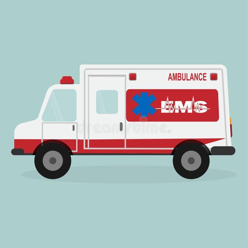 Icône d'ambulance et de textes de secours illustration de vecteur