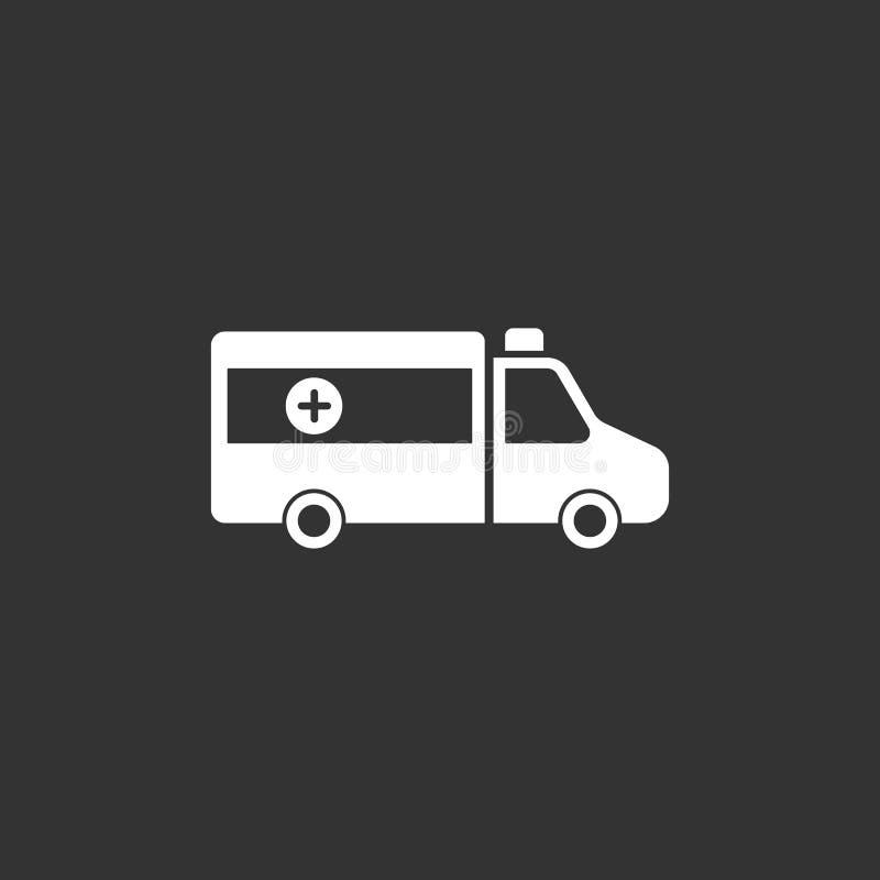 Icône d'ambulance sur un fond noir illustration stock