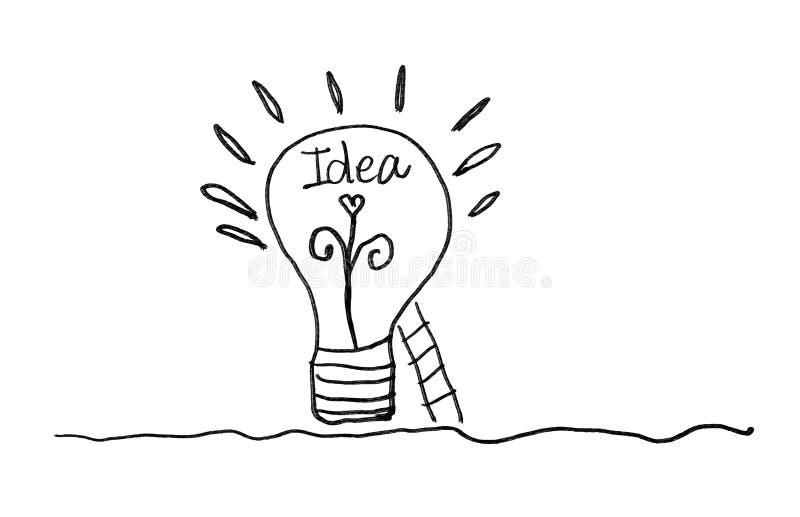 Icône d'ampoule avec l'illustration de vecteur d'escalier, couleur noire Concept ou pensée créative illustration libre de droits