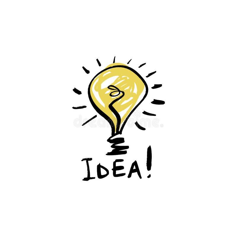 Icône d'ampoule de croquis, concept d'idée Style de griffonnage, signe drôle tiré par la main illustration libre de droits