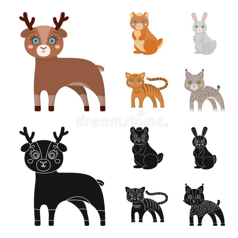 Icône d'animaux, domestique, sauvage et autre de Web dans la bande dessinée, style noir Zoo, jouets, enfants, icônes dans la coll illustration de vecteur