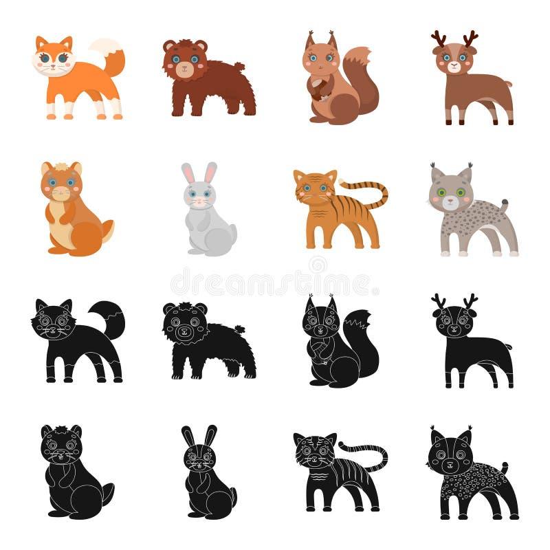 Icône d'animaux, domestique, sauvage et autre de Web dans le noir, style de bande dessinée Zoo, jouets, enfants, icônes dans la c illustration de vecteur