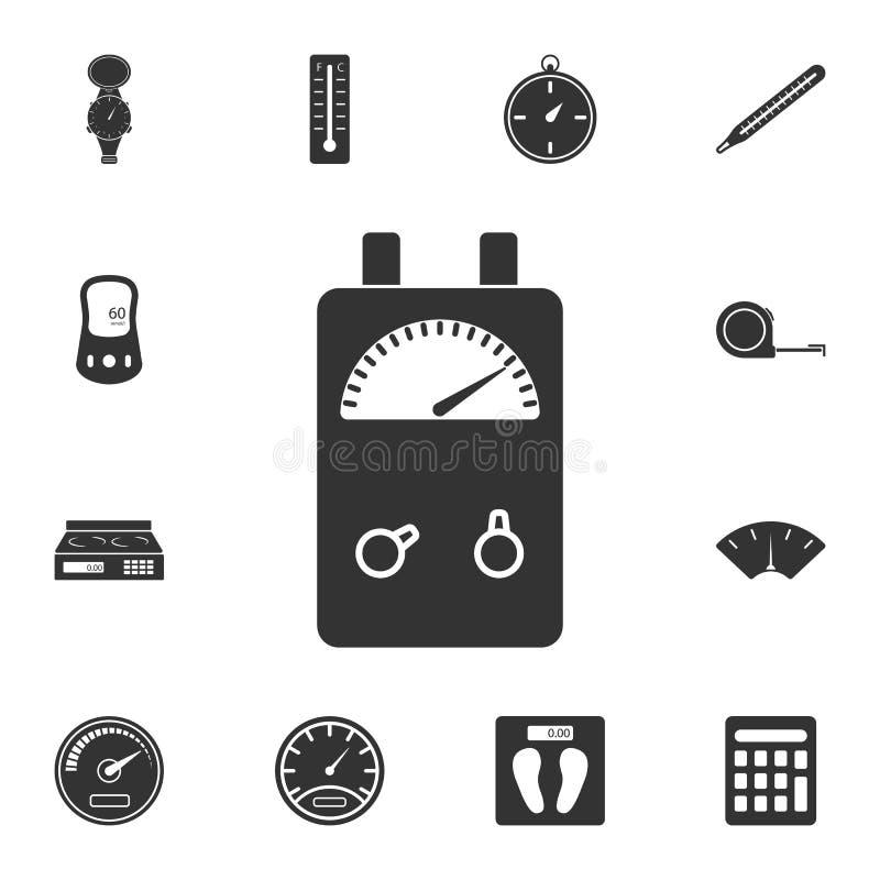 Icône d'appareil de contrôle de mètre d'ampère de tension Illustration simple d'élément Conception de symbole d'appareil de contr illustration de vecteur