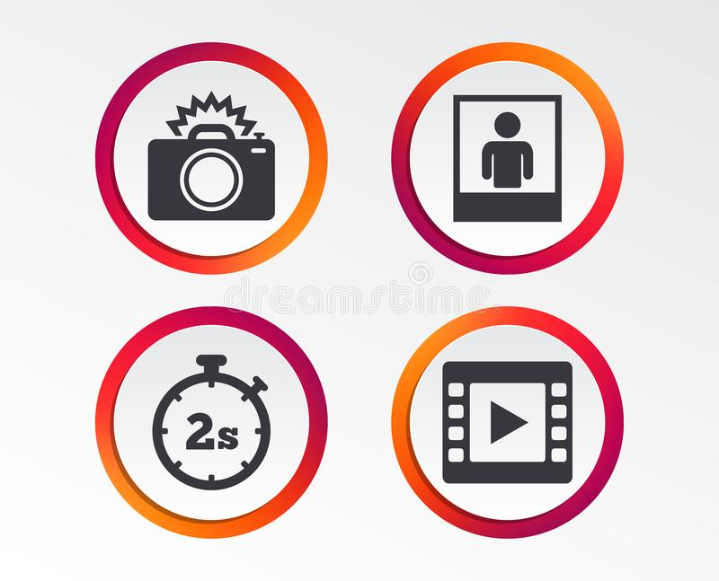 Icône d'appareil-photo de photo Image vidéo de lumière et instantanée illustration libre de droits
