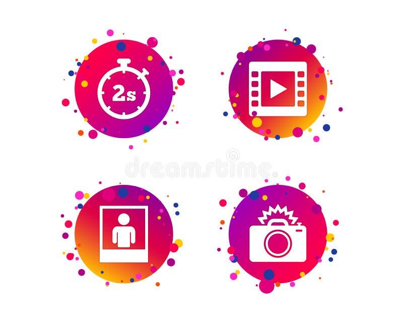 Icône d'appareil-photo de photo Image vidéo de lumière et instantanée Vecteur illustration de vecteur