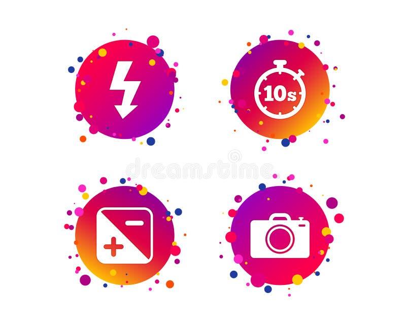 Icône d'appareil-photo de photo Lumière et exposition instantanées Vecteur illustration de vecteur