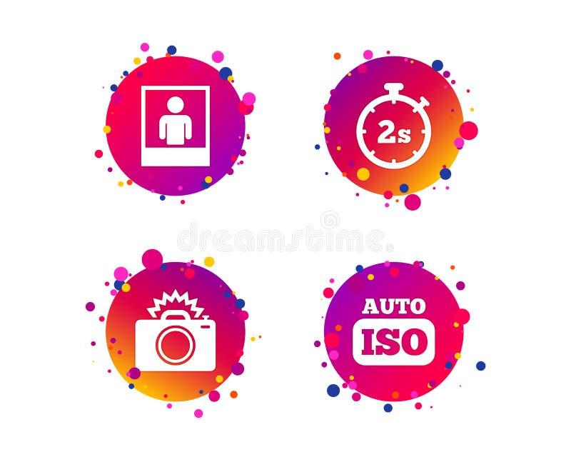 Icône d'appareil-photo de photo Lumière instantanée et OIN automatique Vecteur illustration stock