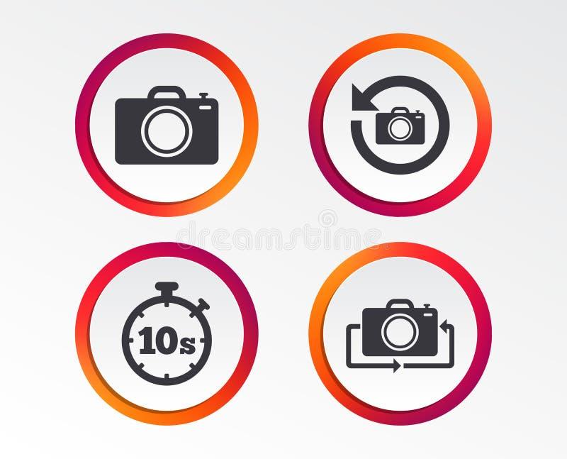 Icône d'appareil-photo de photo Renversez le tour ou régénérez les signes illustration de vecteur