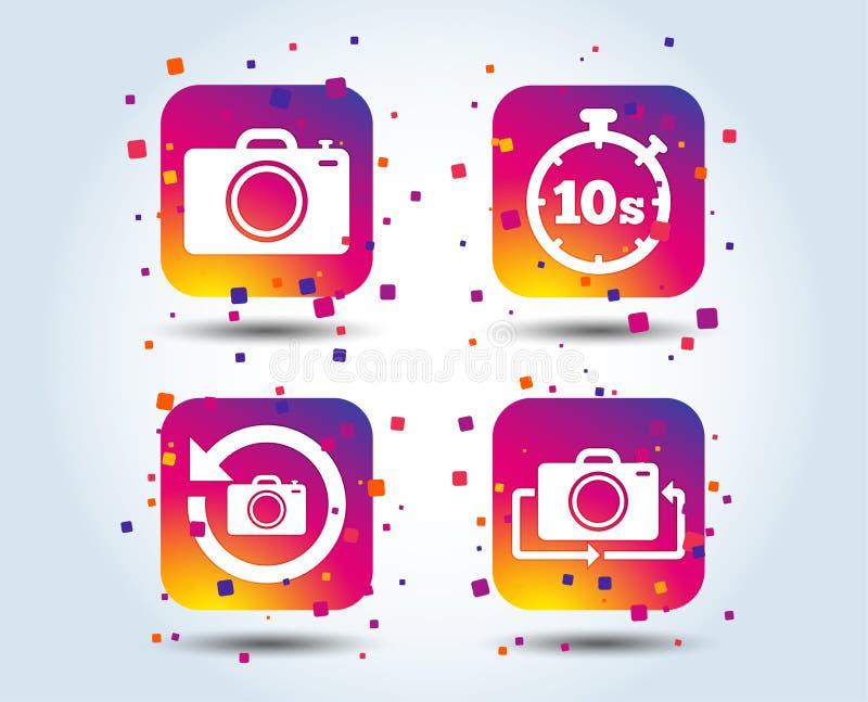 Icône d'appareil-photo de photo Renversez le tour ou régénérez les signes illustration stock