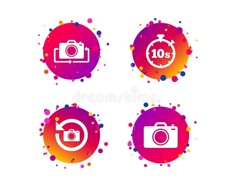 Icône d'appareil-photo de photo Renversez le tour ou régénérez les signes Vecteur illustration de vecteur