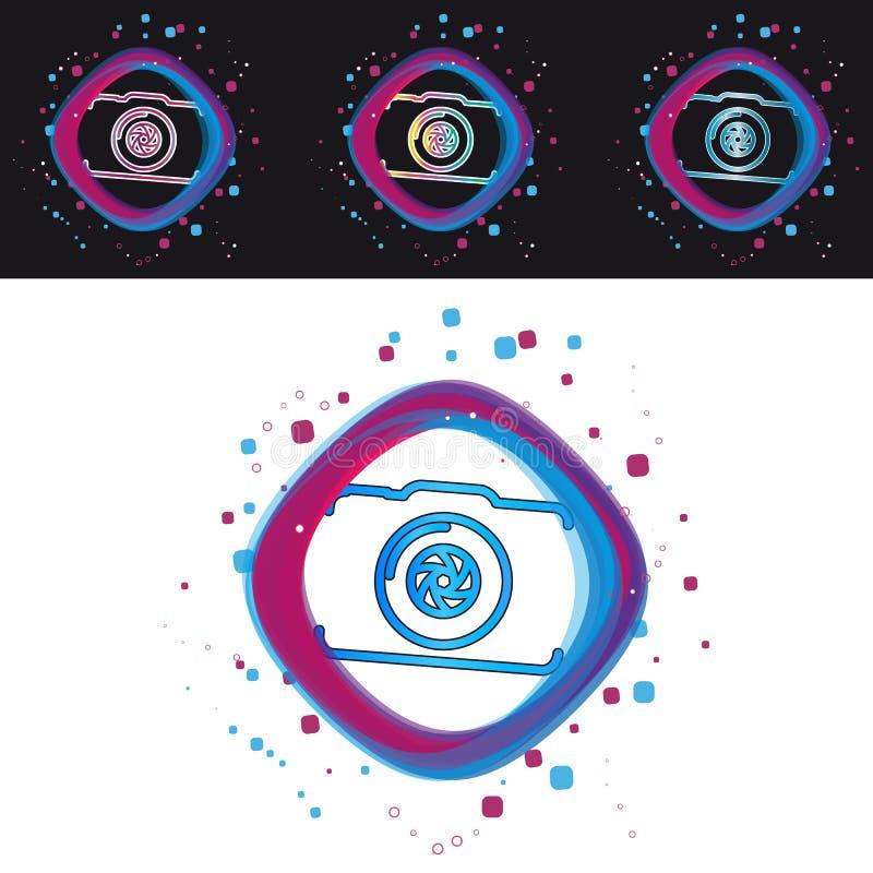 Icône d'appareil-photo - illustration colorée moderne de vecteur - d'isolement sur le fond noir et blanc illustration stock