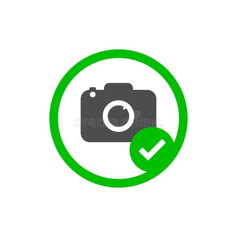Icône d'appareil-photo La photo a permis le signe Illustration de vecteur, conception plate illustration stock