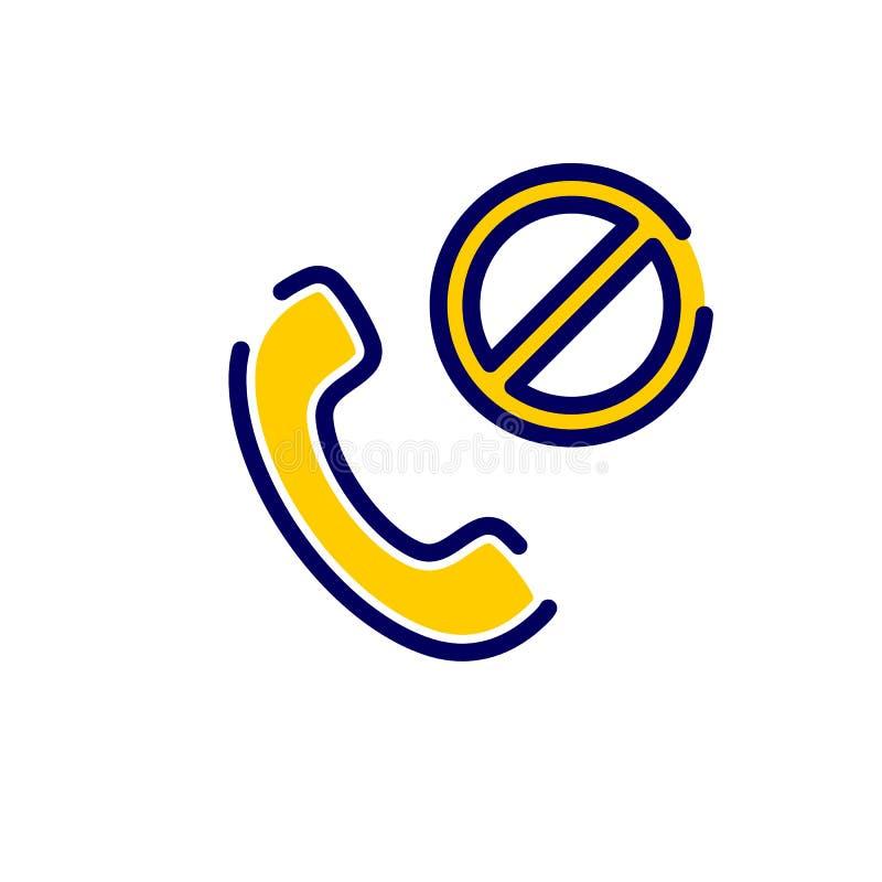 Icône d'appel avec le signe non permis L'icône et le bloc d'appel, interdits, interdisent le concept illustration stock