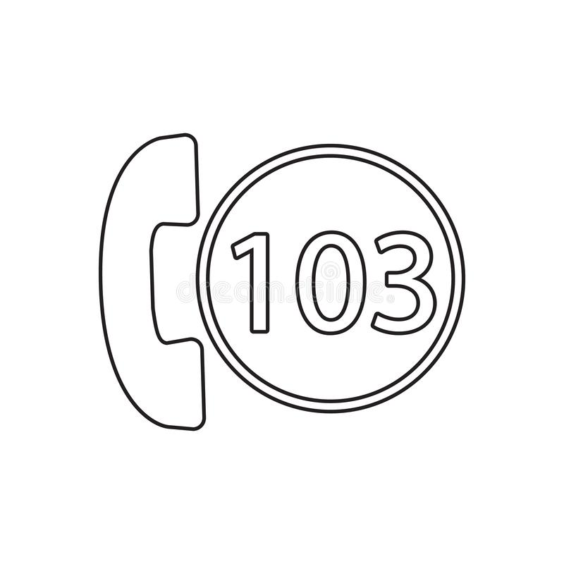 Icône d'appel d'urgence Élément de concept de guardfor du feu et d'icône mobiles d'applis de Web Contour, ligne mince icône pour  illustration stock