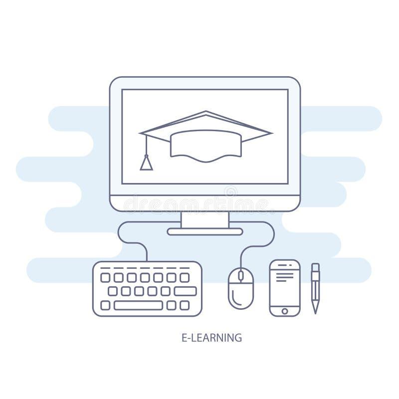 Icône d'apprentissage en ligne et d'e-éducation - éducation éloignée illustration libre de droits