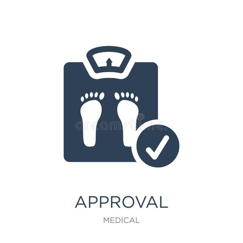 icône d'approbation dans le style à la mode de conception icône d'approbation d'isolement sur le fond blanc appartement simple et illustration libre de droits