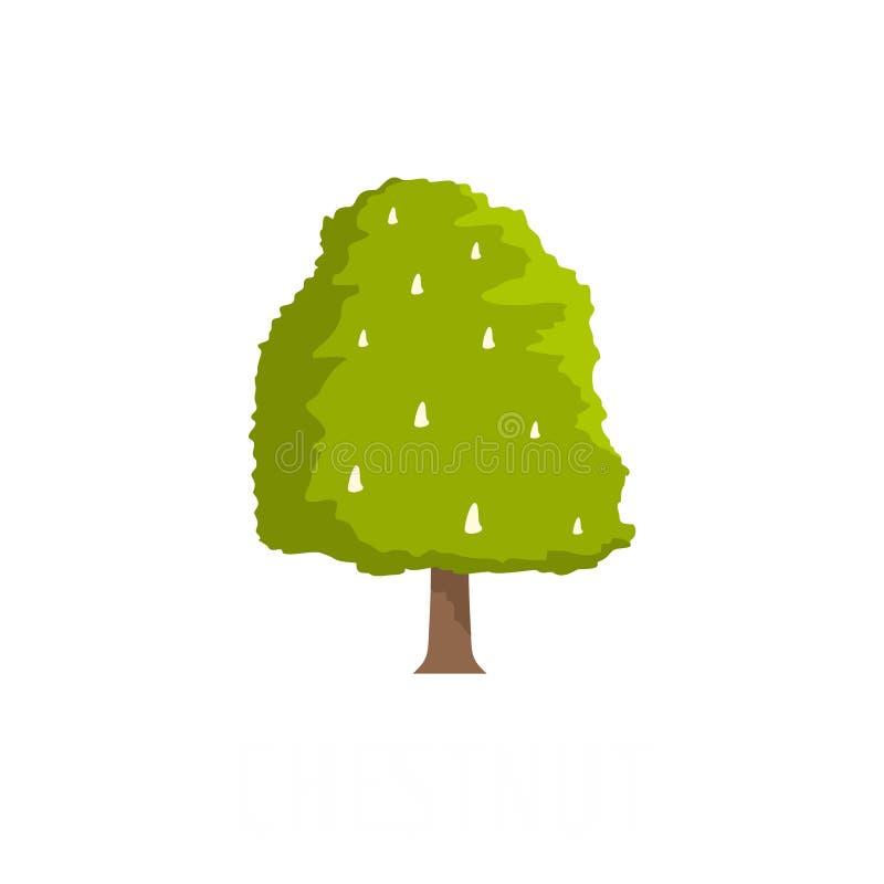 Icône d'arbre de châtaigne, style plat illustration stock