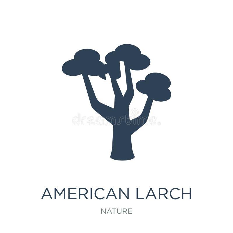 icône d'arbre de mélèze américain dans le style à la mode de conception icône d'arbre de mélèze américain d'isolement sur le fond illustration libre de droits