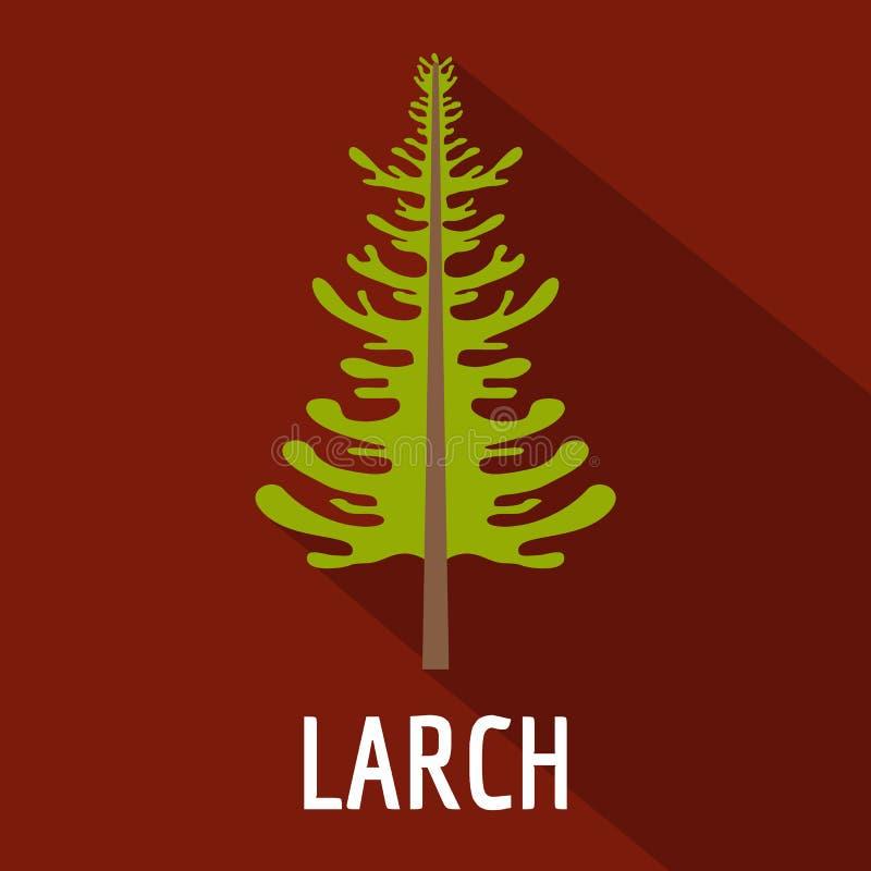 Icône d'arbre de mélèze, style plat illustration stock