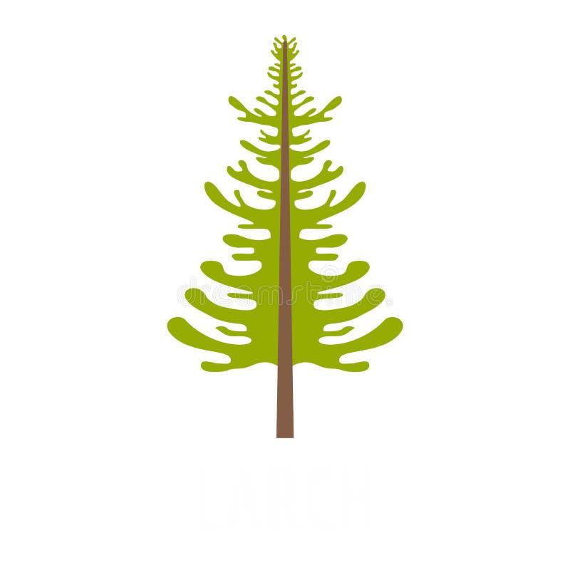 Icône d'arbre de mélèze, style plat illustration de vecteur