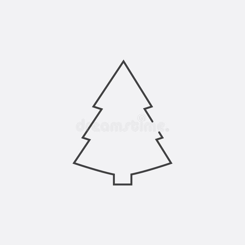 icône d'arbre de Noël, illustration de vecteur Ligne plate icône illustration stock