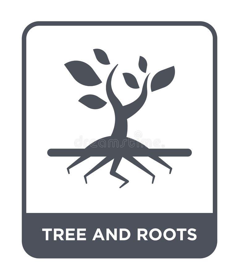 icône d'arbre et de racines dans le style à la mode de conception icône d'arbre et de racines d'isolement sur le fond blanc icône illustration stock