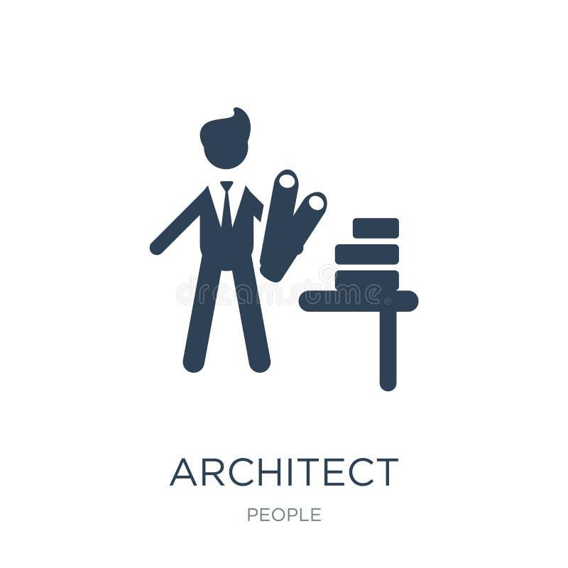 icône d'architecte dans le style à la mode de conception icône d'architecte d'isolement sur le fond blanc appartement simple et m illustration libre de droits
