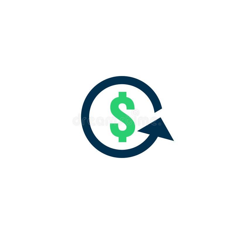 Icône d'argent de remboursement Signe de découpe de Chargeback symbole rapide de dos d'argent liquide de fonds Le change refinanc illustration libre de droits