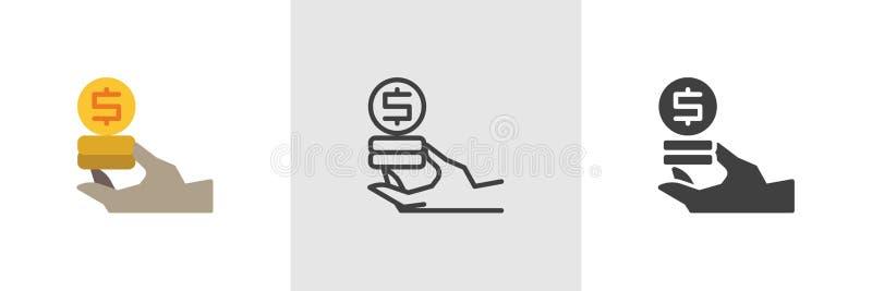 Icône d'argent du dollar de participation de main illustration stock