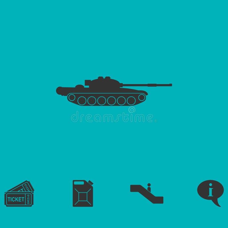 Icône d'armée de réservoir à plat illustration stock
