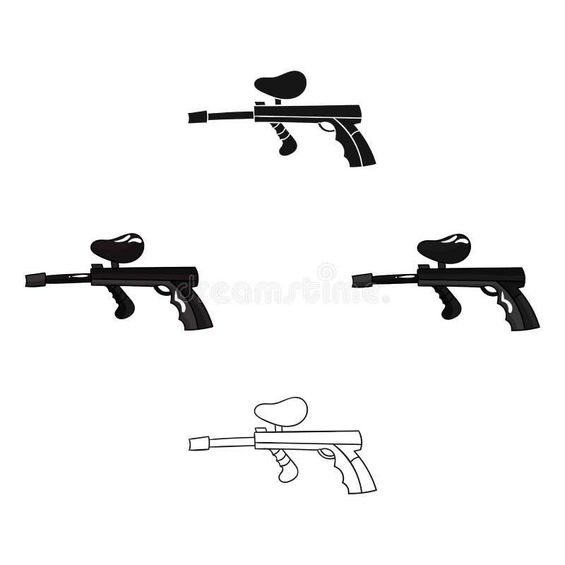 Icône d'arme à feu de Paintball dans la bande dessinée, style noir d'isolement sur le fond blanc Illustration de vecteur d'action illustration libre de droits