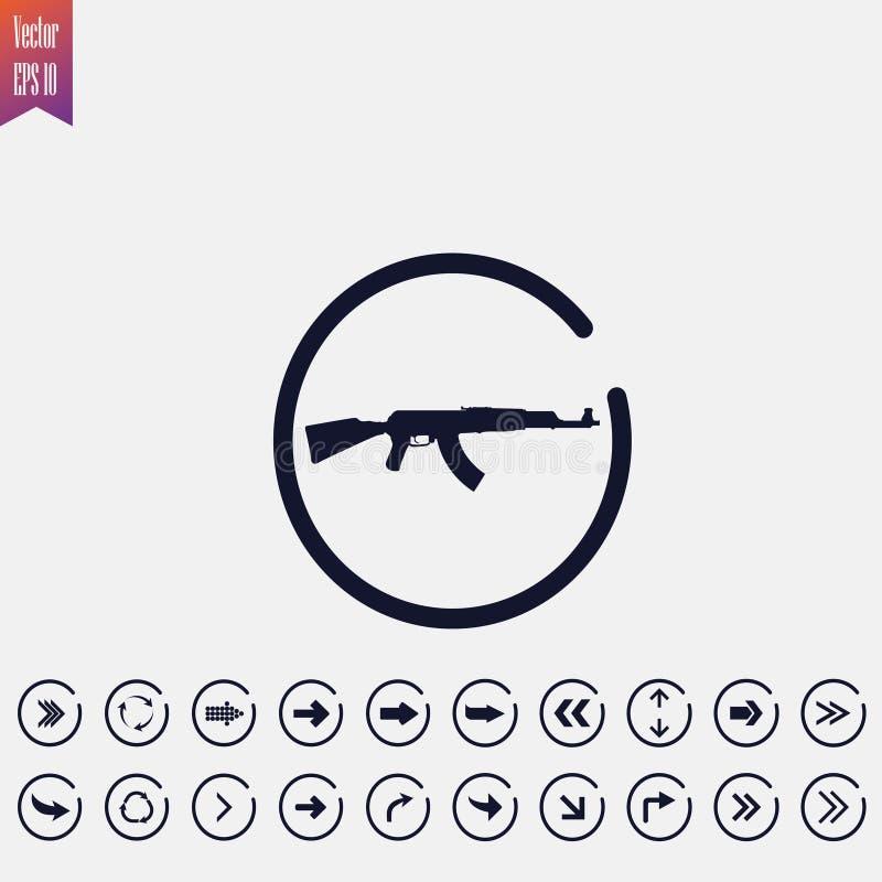 icône d'arme à feu, illustration Icône plate flèche illustration de vecteur